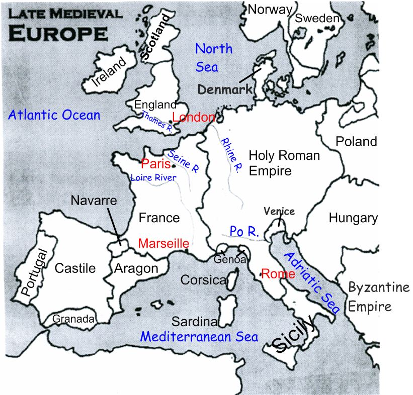 Late Medieval Europe Map Labeled